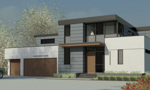 Option #1- Front View - High Roof Fascia - Stucco & Panel Walls